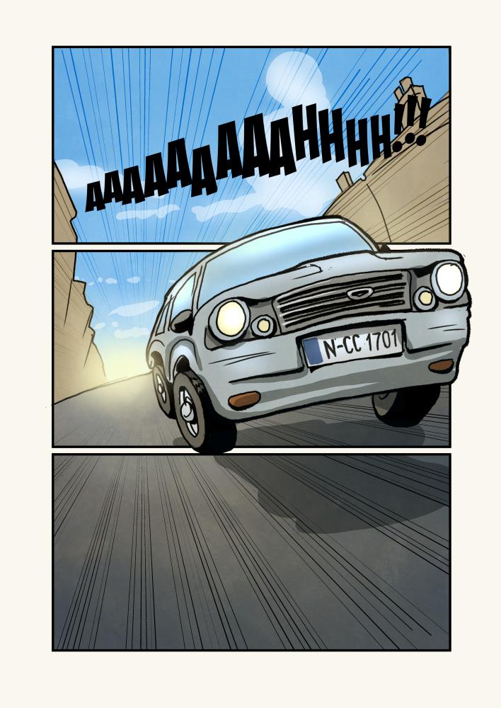 Mit dem Auto.